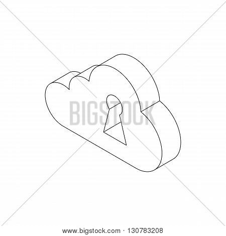 White cloud and keyhole icon in isometric 3d style on a white background