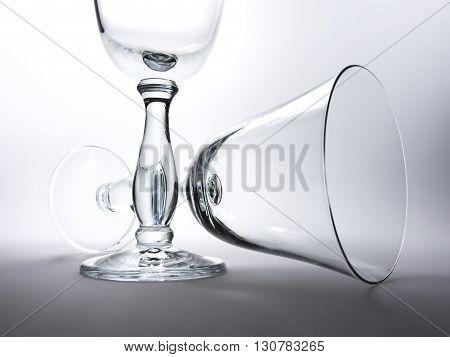 Elegant, empty wineglasses, high contrast study shot.