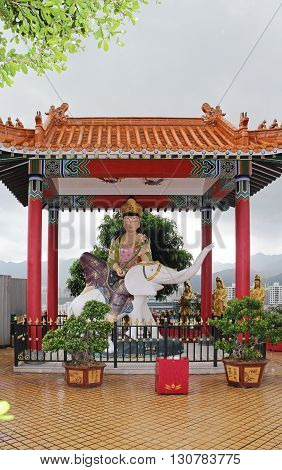 Ten Thousand Buddhas Monastery in Sha Tin in cloudy weather Hong Kong