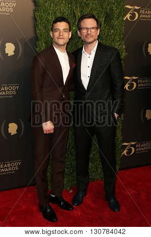 NEW YORK-MAY 21: Rami Malek (L) and Christian Slater attend the 75th Annual Peabody Awards Ceremony at Cipriani Wall Street on May 21, 2016 in New York City.