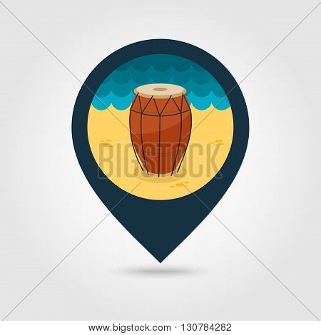 Drum vector pin map icon. Beach Map pointer. Summer Map markers. Summertime. Vacation eps 10