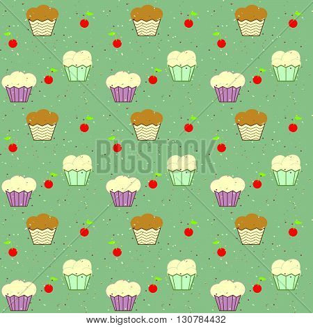 Background of cakes and cherries vector. Cakes vector. Cherries vector. Children cloth vector. Children vector pattern. The patchwork or quilt. Quilt pattern vector.