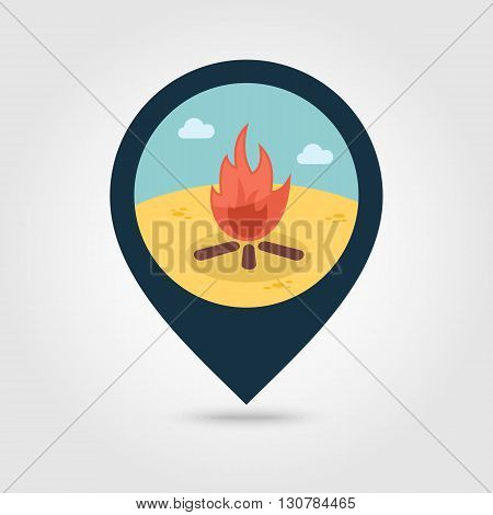 Bonfire vector pin map icon. Beach Map pointer. Summer Map markers. Summertime. Vacation eps 10