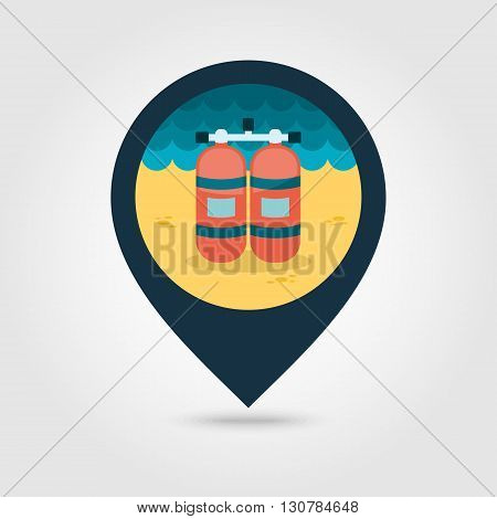 Oxygen tank vector pin map icon. Beach Map pointer. Summer Map markers. Summertime. Vacation eps 10