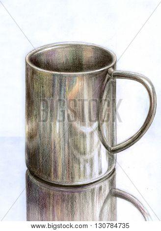 Stainless steel mug - hand draw color pencils illustration
