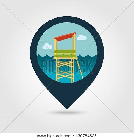 Lifeguard tower vector pin map icon. Beach Map pointer. Summer Map markers. Summertime. Vacation eps 10