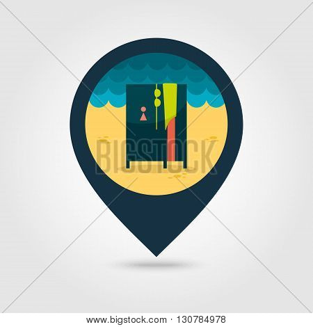 Cloakroom on the beach vector pin map icon. Beach Map pointer. Summer Map markers. Summertime. Vacation eps 10