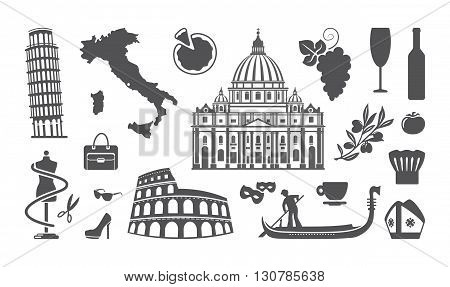 Traditional symbols of architecture and culture of Italy