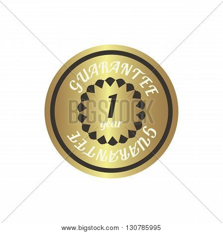 1 year guarantee golden label in simple style on a white background