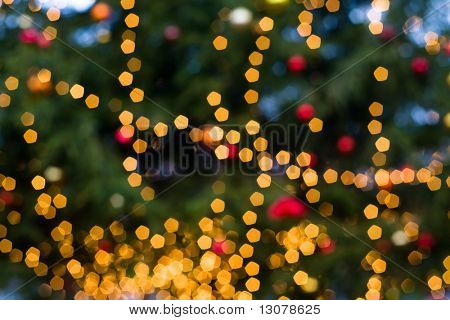 Out of focus Christmas lights.