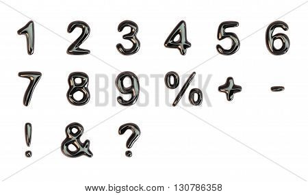 Black 3d Liquid Numbers Set isolated on white