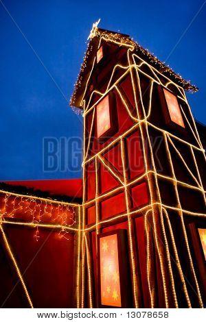 Haus in Christmas dekoration, outdoor, Nightshot.