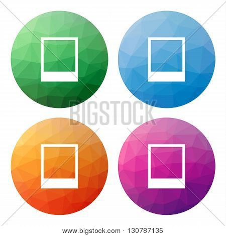 Set  Of 4 Isolated Modern Low Polygonal Buttons - Icons - For Picture (photo, Photoframe, Image, ...