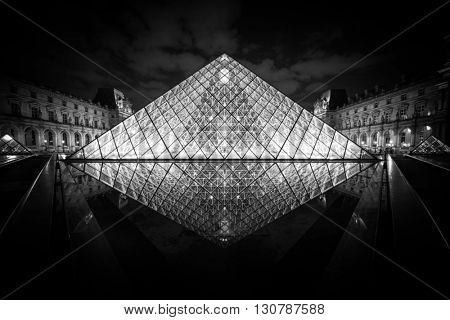 PARIS, FRANCE - MAY 18 2016: The Louvre at night is one of the world's largest museums in Paris, May 18, 2016