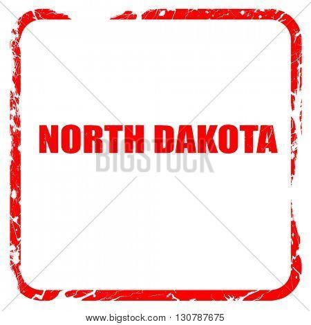 north dakota, red rubber stamp with grunge edges