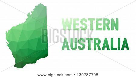 Green Polygonal Mosaic Map Of Western Australia, Wa - Political Part Of Australia