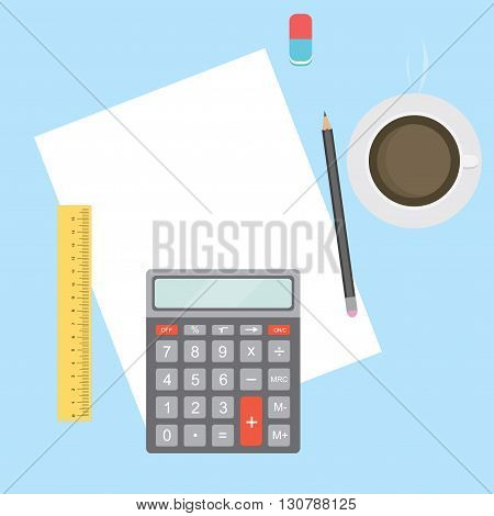 Business Workplace with papers calculator pencil ruler eraser and coffee. Work Accounting table. Office desktop. Vector illustration.