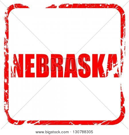 nebraska, red rubber stamp with grunge edges