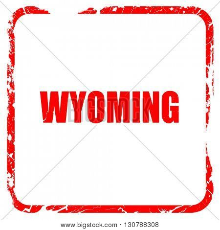wyoming, red rubber stamp with grunge edges