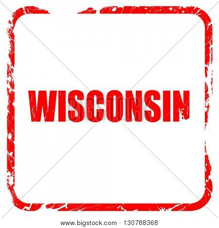wisconsin, red rubber stamp with grunge edges