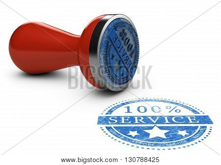 3d Illustration of a rubber stamp with the text 100 percent service over white background. Concept of customer service