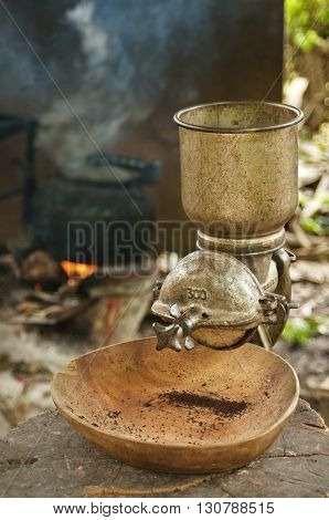 Vintage manual coffee grinder, norther of Thailand.