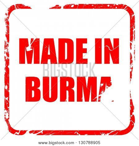 Made in burma, red rubber stamp with grunge edges