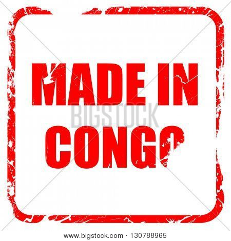Made in congo, red rubber stamp with grunge edges