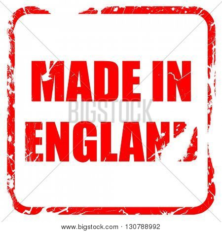 Made in england, red rubber stamp with grunge edges