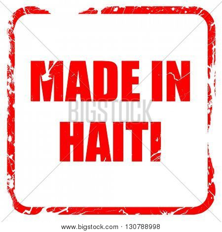 Made in haiti, red rubber stamp with grunge edges
