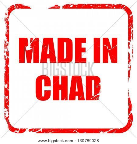 Made in chad, red rubber stamp with grunge edges