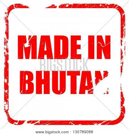 Made in bhutan, red rubber stamp with grunge edges