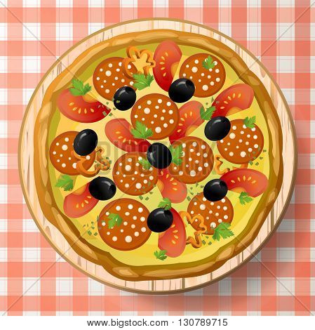 Pizza baked with filling ingredients: salami or sausage cheese mozzarella tomato pepper black olive fresh parsley and species on wooden cutting board on red-white tablecloth. Top view square close-up colour vector illustration.
