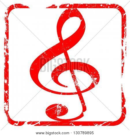 Music note background, red rubber stamp with grunge edges