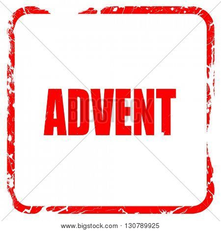 advent, red rubber stamp with grunge edges