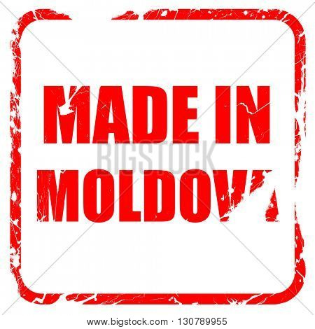 Made in moldova, red rubber stamp with grunge edges