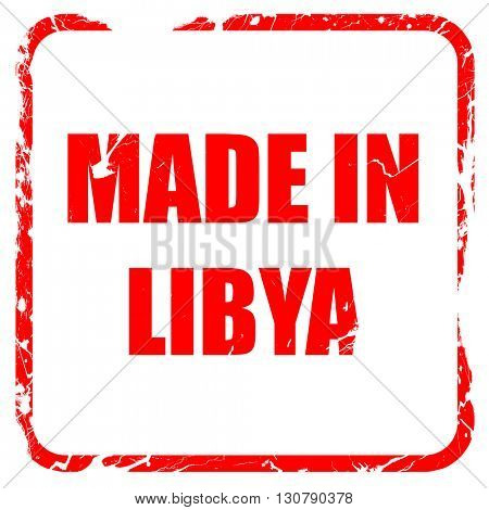 Made in libya, red rubber stamp with grunge edges
