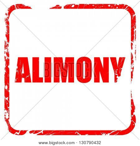 alimony, red rubber stamp with grunge edges