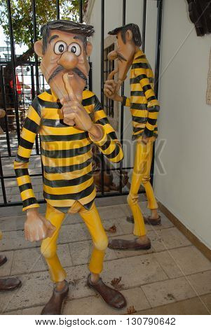 ANTALYA/TURKEY-OCTOBER 18, 2014 : The Daltons at the Toy Museum's Jail. October 18, 2014-Antalya/Turkey