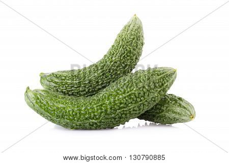 Green Bitter melon, Bitter melon on white background.