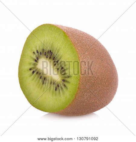 Whole kiwi fruit and his sliced segments isolated on white background.