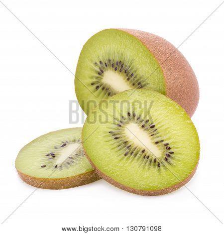 Whole kiwi fruit and his sliced segments isolated on white background.