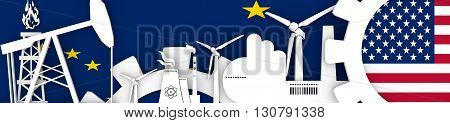 Energy and Power icons set. Header banner with Alaska and USA flags. Sustainable energy generation and heavy industry. 3D rendering