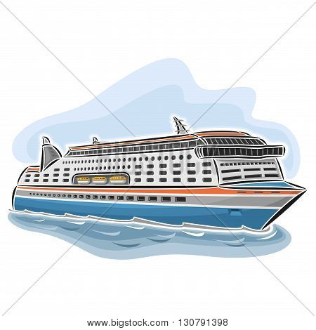 Vector illustration of logo for cruise ferry, consisting of passenger cars nautical express ferryboat ship, floating on the ocean sea waves close-up on blue background