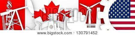 Energy and Power icons set. Header banner with Canada and USA flags. Sustainable energy generation and heavy industry. 3D rendering