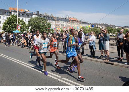 Copenhagen, Denmark - May 22, 2016: Runners at the yearly event Copenhagen Marathon.