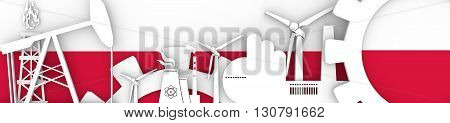Energy and Power icons set. Header banner with Poland flag. Sustainable energy generation and heavy industry. 3D rendering