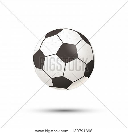 Realistic football ball icon with shadow isolated on white