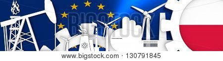 Energy and Power icons set. Header banner with Poland flag. Sustainable energy generation and heavy industry.European Union flag backdrop. 3D rendering