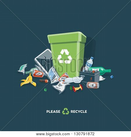 Littering waste that have been disposed improperly at an inappropriate location around the green dust bin. Isolated vector illustration on dark background. Garbage can is full of trash. Trash is fallen on the ground.